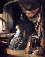 A Lady Playing the Clavichord , c.1665, dou