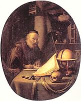 Man Interrupted at His Writing, 1635, dou