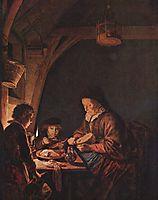 Old Woman Cutting Bread, c.1655, dou