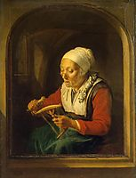 Old Woman Unreeling Threads, 1665, dou