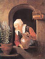 Old Woman Watering Flowers, 1665, dou