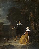Portrait of a couple in a landscape, dou