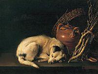 A Sleeping Dog with Terracotta Pot, 1650, dou