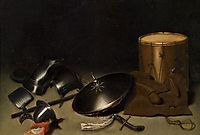 Still life with armor, shield, halberd, sword, leather jacket and drum, dou