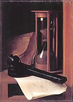Still Life with Hourglass, Pencase and Print, dou