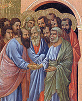The arrival of the apostles to the Virgin (Fragment) , 1311, duccio
