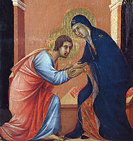 The arrival of the apostles to the Virgin (Fragment), 1311, duccio