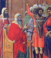 Christ in front of Anna (Fragment) , 1311, duccio