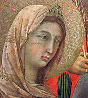 Madonna and Child on a throne (Front side fragment), 1311, duccio