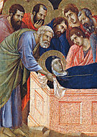 The position of Mary in the tomb (Fragment) , 1311, duccio