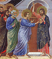 Reassuring Thomas (Fragment) , 1311, duccio