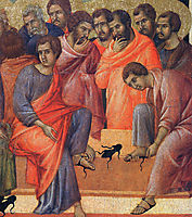 Washing of feet(Fragment), 1311, duccio