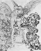 Coat of arms with open man behind, durer