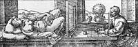 Draughtsman Drawing a Recumbent Woman, 1525, durer