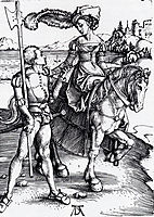 Lady On Horseback and Lansquenet, 1497, durer
