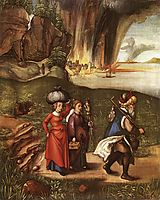 Lot Fleeing with his Daughters from Sodom, 1498, durer