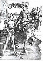 Noble woman at horses and Lansquenet , durer