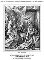 On the left the archangel Gabriel approach the praying Virgin Mary in her bedchamber, durer