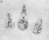 Ornaments for three spoons stalks, durer