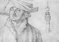 Portrait of Lazarus Ravensburger and the turrets of the court of Lier in Antwerp , durer