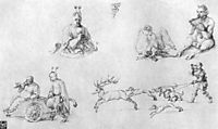 Study sheet with fools, Faun, Phoenix and Deer Hunting, durer