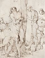 Study sheet with six nude figures, 1515, durer