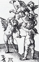 Three Putti With Shield And Helmet, 1500, durer