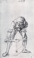 Young Man Leaning Forward And Working With A large Drill, 1518, durer