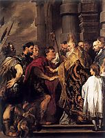 Emperor Theodosius Forbidden by St Ambrose To Enter Milan Cathedral, 1620, dyck
