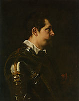 Portrait of a Military Commander bust length in Profile in Damascened armour with white collar and red sash, 16, dyck