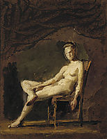 Female nude figure study for Arcadia , eakins