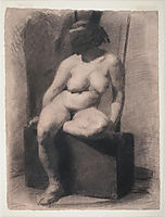 Masked nude woman, seated, eakins