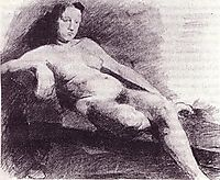 Nude woman reclining on a couch  , c.1863, eakins