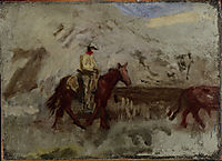 Sketch for Cowboys in the Badlands , 1888, eakins