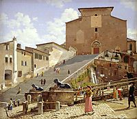 The marble staircase which leads up to S. Maria in Aracoeli in Rome, 1816, eckersberg