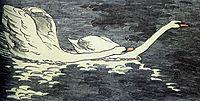 Farbiger Holzschnitt Zwei Schwäne, 1902, eckmann