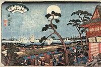 Autumn Moon over Atago Hill (Atagosan no aki no tsuki) from the series Eight Views of Edo, 1846, eisen
