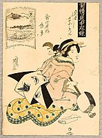 Beauty and Shamisen, 1840, eisen