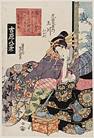 Clearing Weather at Awazu (Awazu seiran), Tamagawa of the Maru-Ebiya, kamuro Katsumi and Shinobu, No. 4 from the series Eight Views in the Yoshiwara (Yoshiwara hakkei), eisen