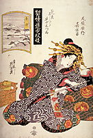 The Courtesan Kaoru of Owariya matched with Okitsu, 1825, eisen