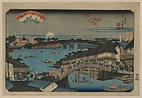 Evening glow at Ryogoku Bridge, 1848, eisen