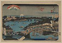 Evening glow at Ryogoku Bridge, 1848, eisen