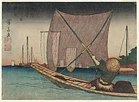 Fishing for Whitebait in the Bay off Tsukuda, 1830, eisen