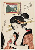Fukagawa Hachiman no Shin Fuji, from the series Twelve Views of Modern Beauties (Imayô bijin jûni kei), eisen