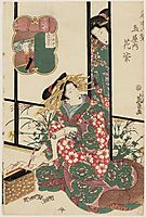 Hanamurasaki of the Tamaya, from the series Eight Views of the Pleasure Quarters (Kuruwa hakkei), eisen