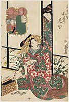 Hanamurasaki of the Tamaya, from the series Eight Views of the Pleasure Quarters (Kuruwa hakkei), eisen