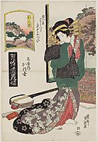 Kanbara: Kaoyo of the Tamaya, from the series A Tôkaidô Board Game of Courtesans, 1823, eisen