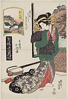 Kanbara: Kaoyo of the Tamaya, from the series A Tôkaidô Board Game of Courtesans, 1823, eisen