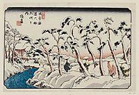 No. 15, Itahana, from the series The Sixty-nine Stations of the Kisokaidô Road (Kisokaidô rokujûkyû tsugi no uchi), 1838, eisen