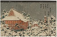 Snow Scene at Sensô-ji Temple at Kinryûzan in the Eastern Capital, eisen